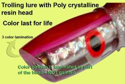 Osprey Poly crystalline trolling lure head with laminated color band for DIY use- fit your own skirt
